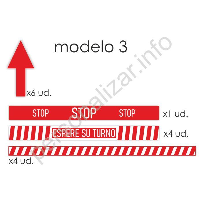 Pack adhesivos suelo flujo de clientes Modelo 3