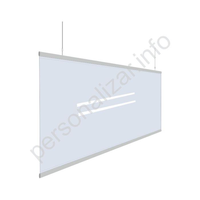Mampara mostrador colgante transparente  flexible