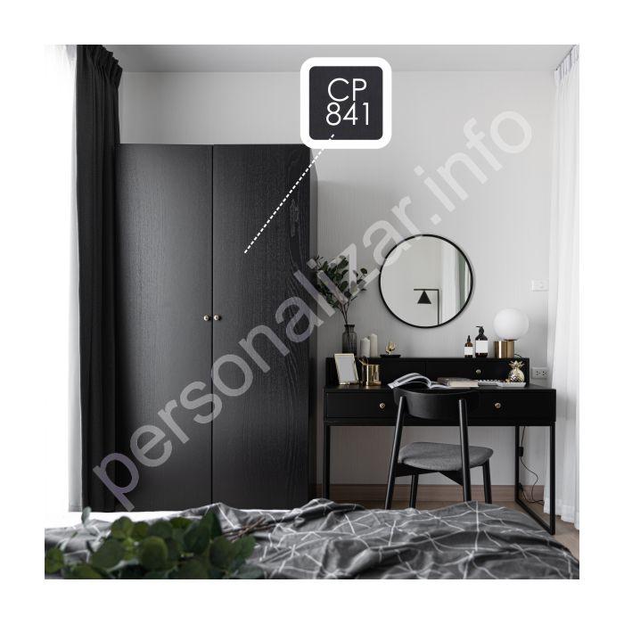 Vinilo Color Plano Textura Madera Negro