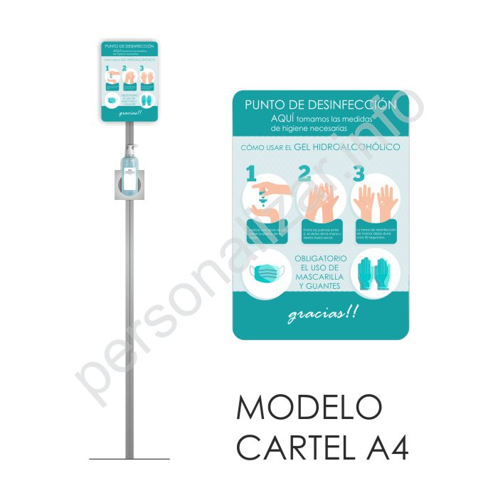 SOPORTE PARA DISPENSADOR DE GEL PORTÁTIL - MODELO CARTEL A4